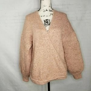 Madewell Wrap Front Pullover Sweater Size XL Pink